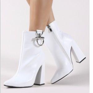 NEW Public Desire white metal trim shoes